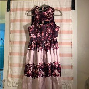 Floral midi violet dress